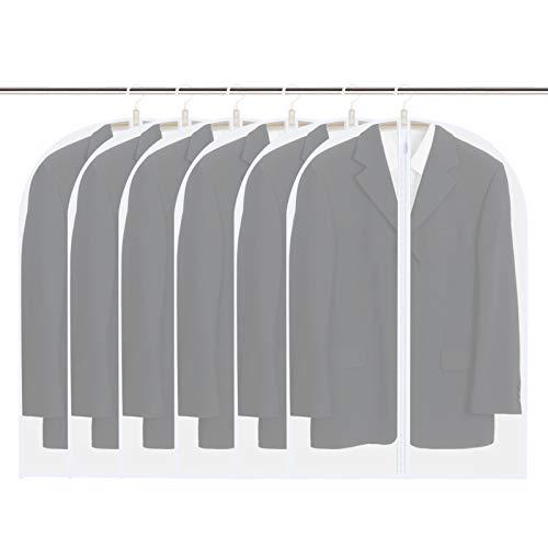 Vicloon Fundas de Ropa, 6 Pcs 60 * 100cm Fundas de Trajes Transpirables Transparentes Impermeables con Cremallera Completa, Bolsas de Ropa a Prueba de Polvo para Vestidos Abrigos Chaquetas Camisas