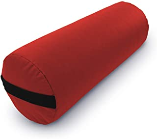 Bean Products Yoga Bolster - Made in The USA with Eco Friendly Materials - Studio Grade Round Support Cushion That Elevates Your Practice & Lasts Longer - Natural Cotton, Hemp or Vinyl Cover
