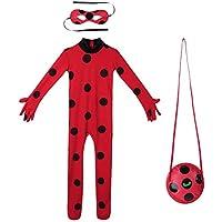 URAQT Drisfraz Lady Bug Vestido Infantil Niñas Costume Rojo Cosplay de Disfraz de Halloween, Cumpleaños (Rojo S)