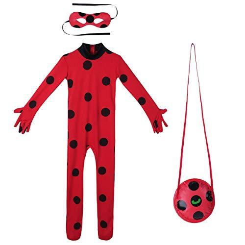 URAQT Ladybug Costume, Miracolosa Coccinella Ragazze, Costumi Cosplay di Carnevale e Halloween, Set 3 Pezzi Vestiti Siamesi, Maschera per Gli Occhi, Piccola Borsa
