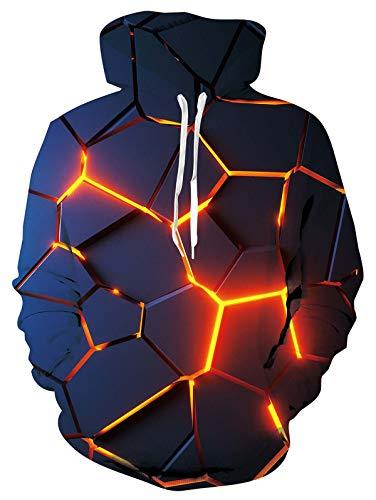 ALISISTER Men Women Hoodies 3D All-Over Geometry Digital Pullover Hoodie Sweatshirt Teen Boys Drawstring Hooded Jumper with Fleece Plush Lining M