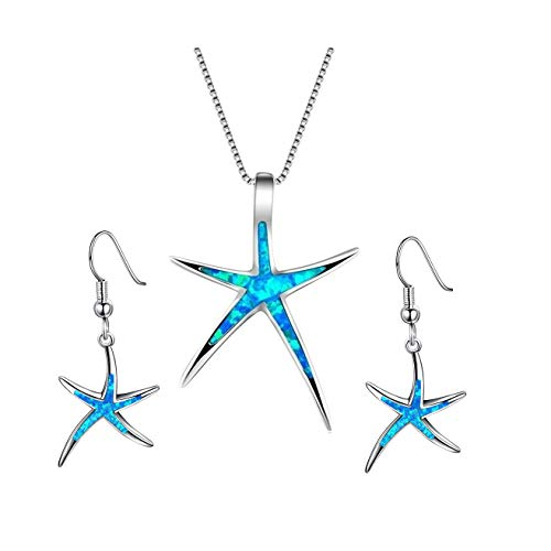 Starfish Necklace Earrings Jewelry Set with Blue Purple Opal Ocean Sea Animal Beach Jewelry for Women Girls