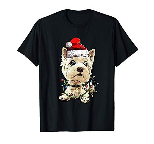 West Highland White Terrier Santa Christmas Tree Lights Xmas T-Shirt