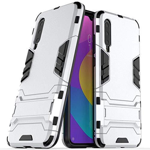 COOVY® Cover für Xiaomi Mi CC9 / 9 Lite Bumper Hülle, Doppelschicht aus Plastik + TPU-Silikon, extra stark, Anti-Shock Hülle, Standfunktion | Silber