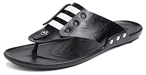 Wzqwzj Zapatillas de verano para hombre de cuero casual Flip Flops verano interior y exterior sandalias de playa de tacón plano zapatos zapatillas de baño (color: negro, tamaño: 41)