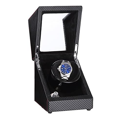 CWCCGGG Caja Enrolladora De Reloj Automática Individual, Vitrina De Madera para Guardar Relojes con Pintura De Piano con Luz De Fondo Azul, Almohada De Terciopelo Suave Ajustable