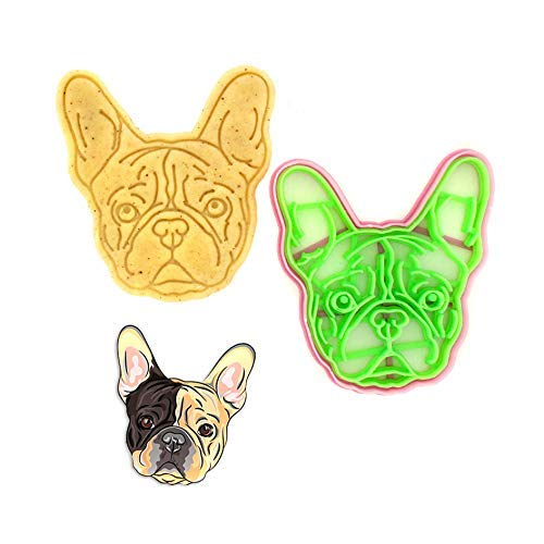 Cookie Cutter by 3DForme, French Bulldog Dog Puppy Cake Fondant Frame Mold for Buscuit, Set 2 Piece
