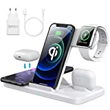 AMZLIFE Wireless Charger,4 in 1 Qi Induktive ladestation,15W Kabelloses Ladegerät für Apple Watch SE/6/5, Airpods Pro, iPhone 12/11/SE/XR/Xs Max/8, Samsung Galaxy Buds/S21/S20 [Mit 18W QC 3.0 Adapter]