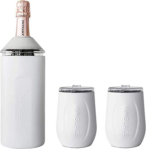Vinglacé Gift Set - Bottle Insulator Chiller with 2 Stemless Wine Glasses - Great Gift Ideas for Wine and Champagne Lovers (White)