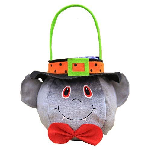 LIBOYUJU Halloween-Einkaufstasche Candy Bag mit Hut Süßes oder Saures-Handtasche Desktop-Dekoration Kreative Hexe Runde Tote Candy Aufbewahrungsbox,A