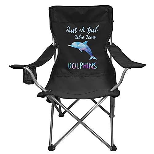 Renewold Silla de playa, silla plegable para acampar al aire libre, silla duradera con portavasos, bolsa de almacenamiento para mochila, césped, barbacoa, picnic, sólo una chica que ama a los delfines