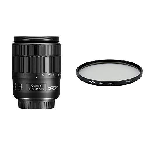 Canon Zoomobjektiv EF-S 18-135mm F3.5-5.6 is USM für EOS (67mm Filtergewinde, Autofokus, Bildstabilisator) schwarz & Hoya HMC UV (C) Objektiv (67 mm Filter)