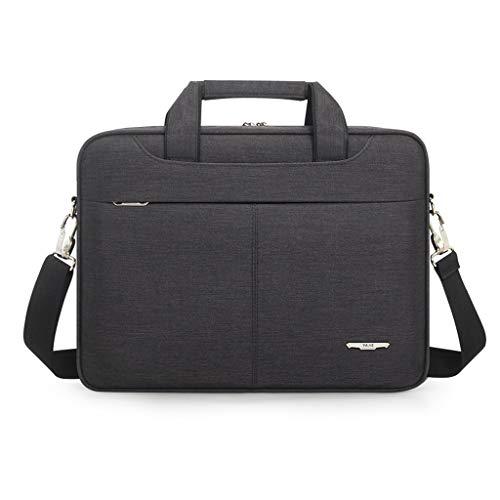 TUCY 15-inch laptoptas, zakdoek aktetas, duurzaam Oxford textiel boodschappentas, reis-schoudertas met riem voor mannen en vrouwen - zwart