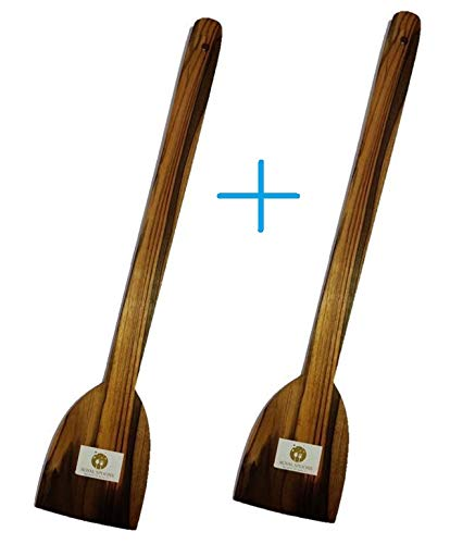 ARMAN SPOONS - Believe in Quality Dosa Roti Spatula Set of 2 - Genuine Teak Wood Cooking Spatulas Ladles (Wooden Spoons for Pan) Nonstick (Tabita+ Tabita)