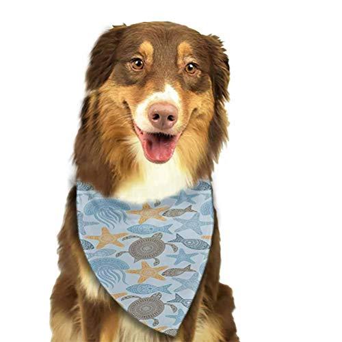 YaYaTop Bufanda para Mascotas Fondo de Rayas clásico con Estrellas de mar de Color Rojo Patrón temático marítimo Pañuelos Bufanda Azul Marino Rojo
