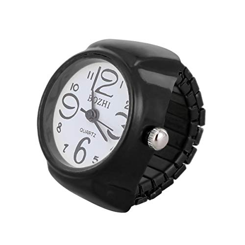 NICERIO Unisex Anillo de Dedo Reloj Moda Redondo elástico Reloj Anillo joyería Reloj de Cuarzo Anillo para Mujeres Regalo Hombres Regalo (Negro)