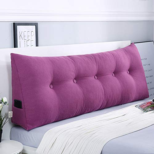 Z&H Solid Color Wedge Pillow Triangular Headboard Cushion,Large Reading Back Cushion Seat Cushion Back Position Support Sofa Bed Reading Pillow Cover Purple 180 * 50 * 20cm (71 * 20 * 8')