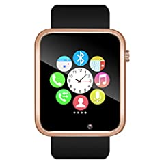 """【Stylish Smart Watch】- With a sleek, modern design, brilliant 1.54"""" display. Top quality Glass and Acrylic surface, precision laminating process. Nano TPU85 material strap, anti-sweat matte surface treatment, ergonomic convex design and soft strap, w..."""