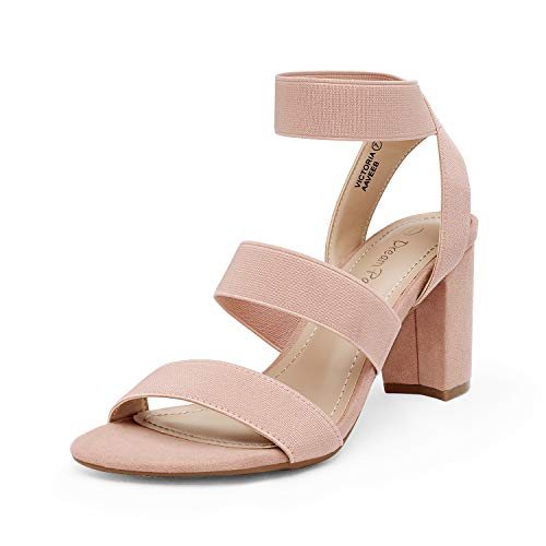 DREAM PAIRS Women's Blush Open Toe High Chunky Elastic Strap Dress Heel Sandalsdals Size 9 US Victoria