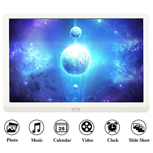 EastPoint 10 Zoll Digitaler Bilderrahmen, 1920x1080 Hochauflösend Full-IPS-Display, unterstützt max. 128G SD Karte, Musik/Video-Player Kalender Wecker automatischer EIN/AUS Timer, Fernbedienung, Weiß
