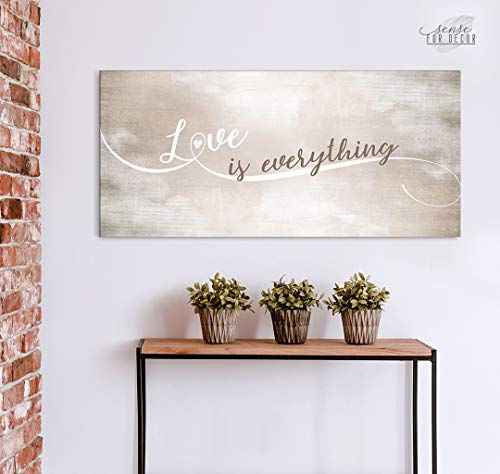 Sense of Art   Love is Everything   Wooden Framed Canvas   Ready to Hang Wall Art for Home Decoration (Tan_Brown_Beige_Grey)