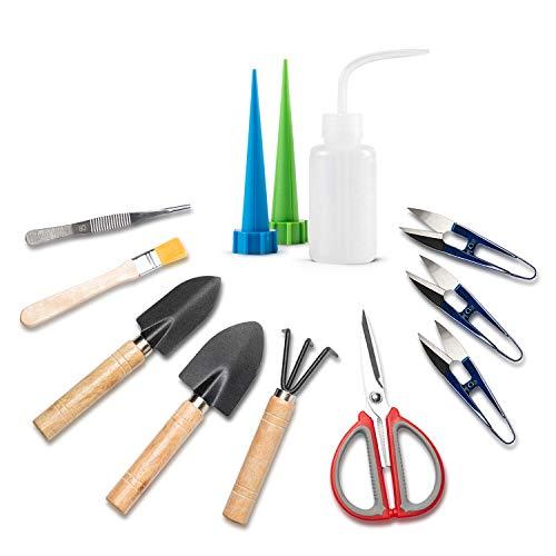 ZELARMAN Bonsai Tools Kit Set-12 pcs Succulent Mini Garden Tools for Bonsai Tree Pruning Trimming Watering