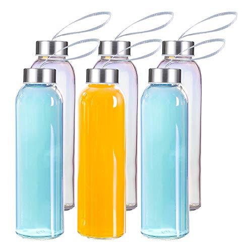 MASEN Glaswasserflasche 500ml 6er Set Irisierende Sport Trinkflasche mit auslaufsicherem Edelstahldeckel für Reisen und Fitness (Regenbogen Farbe)