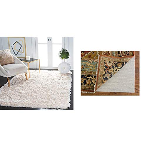 Safavieh Paris Shag Collection SG511-1212 Handmade Silken Glam 2.5-inch Thick Area Rug, 8' x 10', Ivory & Padding Collection PAD121 White Area Rug, 8 feet by 10 feet (8' x 10')