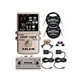 NUX Loop Core Deluxe Looper Pedal Bundle with NUX NMP-2 Dual Footswitch, Blucoil 2-Pack of 9V AC Adapter, 2-Pack of 10-FT Straight Instrument Cables (1/4in), 2x Patch Cables, and 4x Guitar Picks