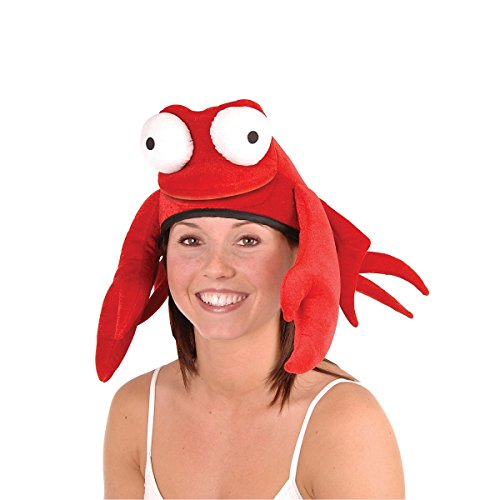 Review Pack of 6 Flashy Large Claw Red King Crab Soft Plush Party Hat