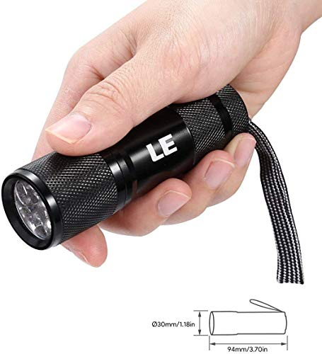 Lepro LE UV Torch, 9 LED 395nm Ultraviolet Flashlight, Blacklight Detector for Pet Urine, Stain, Bed Bugs and More, 3 AAA Batteries Included 5