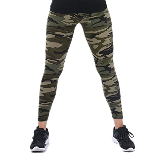 Tamskyt Womens Ultra Soft High Waist Printed Camo Leggings (Army Green)