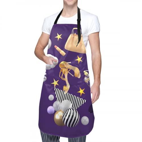 Delantal unisex, impermeable, duradero, ajustable, para bolsos, lápiz labial, tacones altos, perfume, delantales de cocina voladores, delantal masculino para el maestro de la parrilla, para lavar pla