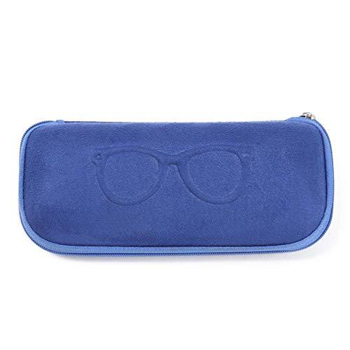 Boner 1 stks brillen gevallen cover zonnebril case voor vrouwen mode glazen doos met lanyard rits lenzenvloeistof gevallen, blauw