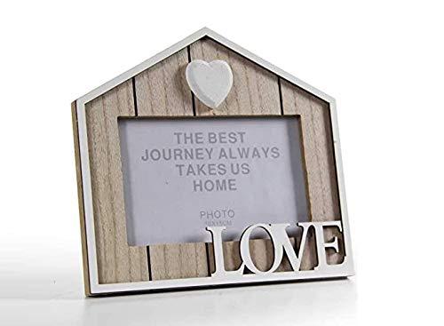 GICOS IMPORT EXPORT SRL Cornice Portafoto da Tavolo Forma Casa Design Shabby Chic Love Porta Foto 10x15, Legno, Unica