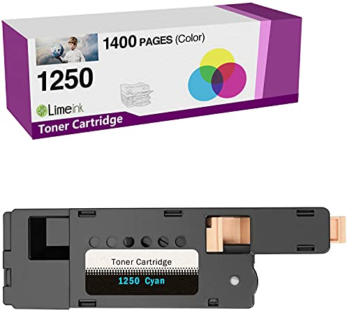 Limeink 1 Cyan Compatible High Yield Toner Cartridges Replacement for Dell 1250 Laser Printers 1250c 1350cnw 1355cn 1355w 1355cnw C1760nw C1765nf C1765nfw C1760
