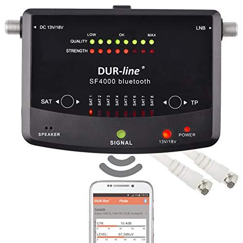 NEUHEIT! Bluetooth Easy SatFinder - DUR-line SF 4000 BT - mit 8 vor eingestellten Satelliten inkl. Smartphone-App für weitere Profi Anwendungen [Digitales SAT-Messgerät]