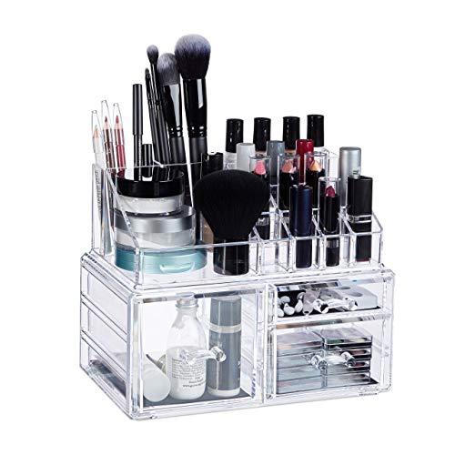 Relaxdays Make-Up Organizer, 3 Schubladen, Schmink-Aufbewahrung f. Nagellack, Lippenstift, Acryl Organizer, transparent