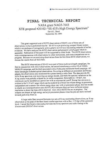 "XTE Proposal #20102--\""SS 433\'s High Energy Spectrum\"""