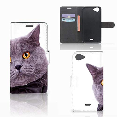 B2Ctelecom Handyhüllen für Wiko Rainbow Jam Flip-Case Hülle Katze - Geschenkideen Für Freundin