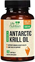 Antarctic Krill Oil Supplement 1000mg Extra Strength Krill w/Omega 3, EPA, DHA & Astaxanthin - Made in USA - Heart & Joint Support, Non-GMO, No Fishy Aftertaste for Men Women - 60 Softgels