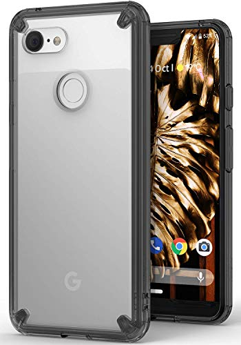 Ringke Fusion fürs Google Pixel 3 XL [Smoke Black] Kartzfest Hart Klar Rückseite mit Flexibel Silikon Stoßfest Rahmen für Pixel 3XL