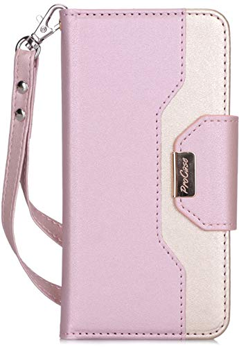 ProCase Galaxy S10e Wallet Case, Flip Kickstand Case with Card Holders Mirror Wristlet, Folding Stand Protective Book Case Cover for Galaxy S10e 2019 Release -Pink