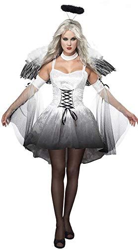 Uteruik Disfraz de ángel oscuro con plumas y alas de ángel oscuras y diadema de halo, color negro, disfraz de Halloween, fiesta de Navidad para mujer, talla 2XL (#B)