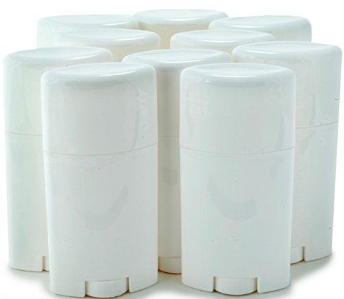 Vivaplex, 10, White, Empty, 2.5 oz Deodorant Containers with Caps