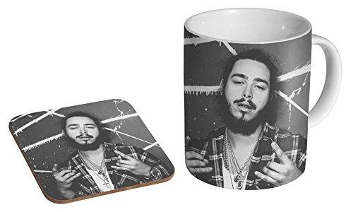 Post Malone BW Kaffeetasse + Untersetzer aus Keramik