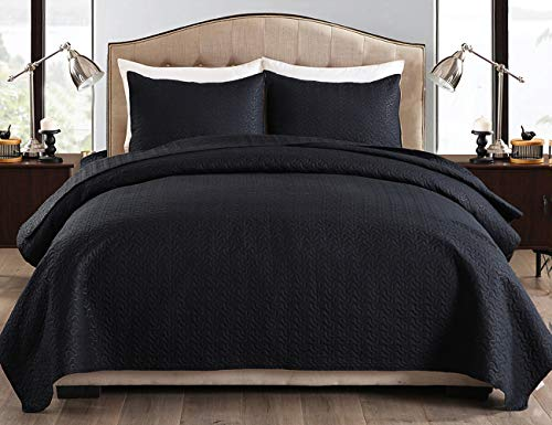 JML Quilt King Size Set 3-Piece Bedspread Coverlet with Shams Soft Brushed Microfiber, Lightweight Hypoallergenic All-Season Quilt Bedding (92' x 104', Black)