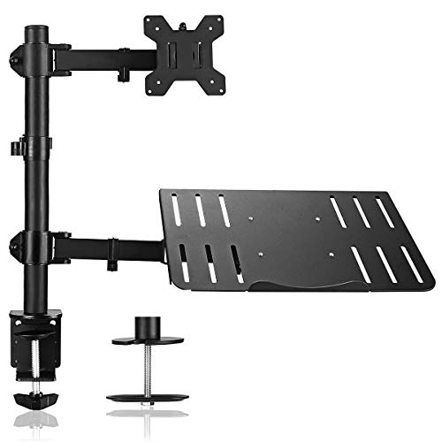 Suptek Monitor Stands for Desks, Laptop Stand Adjustable Height, Desk Arm Mount, Desk Mounted Monitor Arm for 13-27 Inch LED LCD Screen & Laptop up to 17 Inch