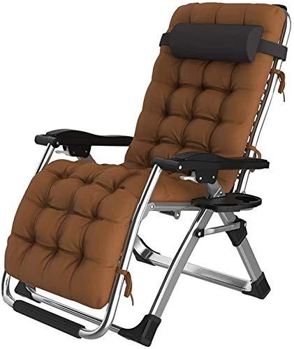 Lhak Sillón reclinable al Aire Libre Plegables sillas de Playa for Acampar terraza al Aire Libre y tumbonas Siesta con reposacabezas móviles (Color : Brown)