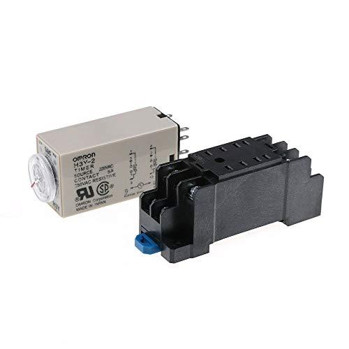 Woljay Interruptor Temporizador de relé de retardo de Tiempo 0-60 Segundos H3Y-2 AC 36V DPDT con Base de Enchufe